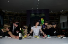 I can't remember who's idea this was but as a re-enactment of the last supper it's a surreal one. We kept adding props from the show until we ended up with this ridiculous thing. Again I like the image but the ast supper has been done a bit too often
